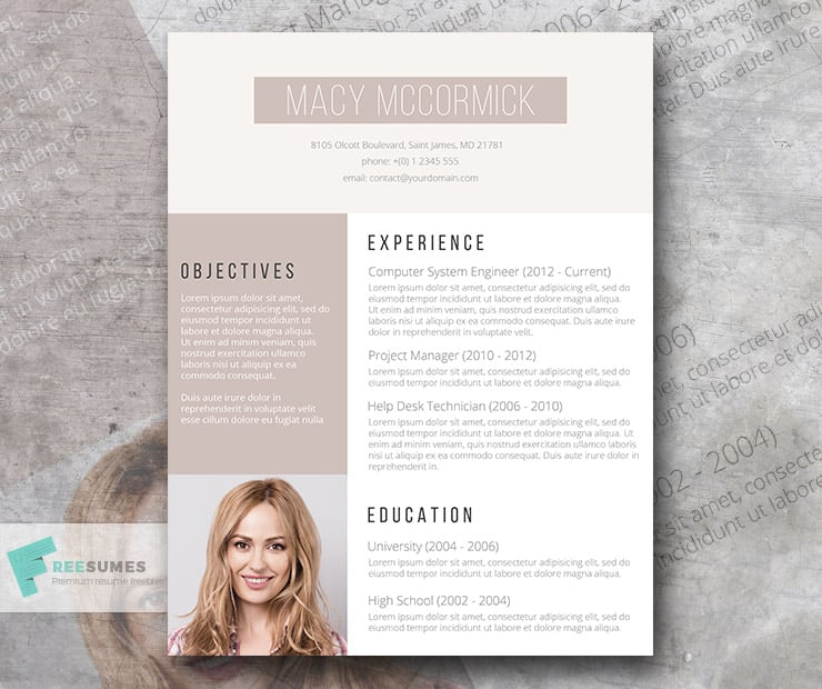 Glamour, The Free Resume Template Of The Week
