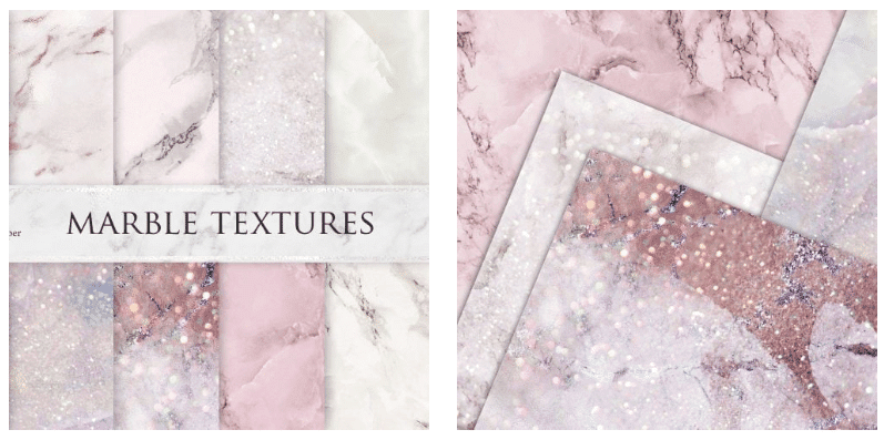 Marble backgrounds of different pastel shades of pink with glitter.