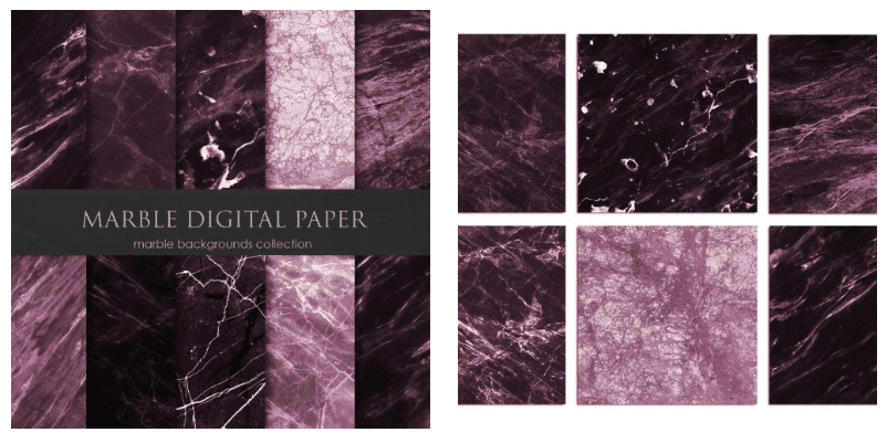 Marble backgrounds in rich eggplant colors with thin veins.