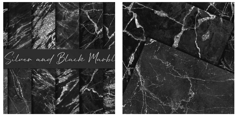 Black marble backgrounds with glittering marks and veins.