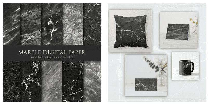 Dark marble backgrounds with white veins.