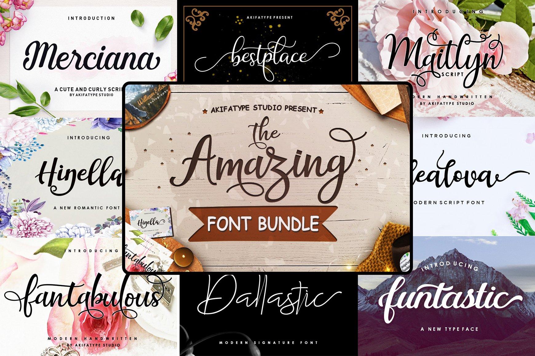 The Amazing Font Bundle - 8 Typefaces $8 only - 001