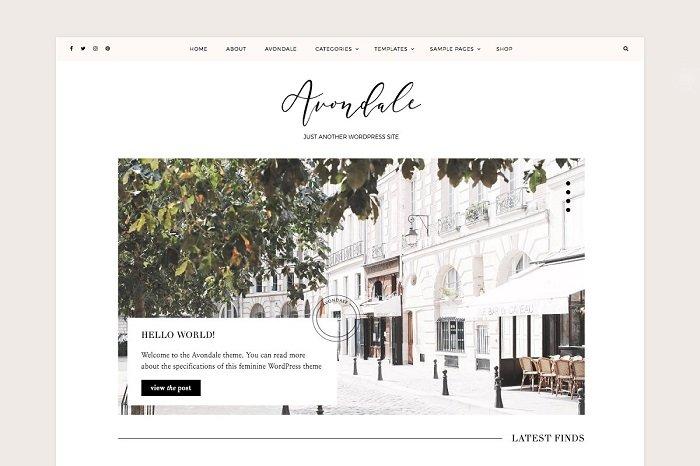 Avondale Feminine WordPress Theme