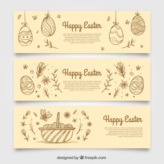 220 Best Easter Graphics in 2020: Free & Premium - banners sketches easter eggs 23 2147601521