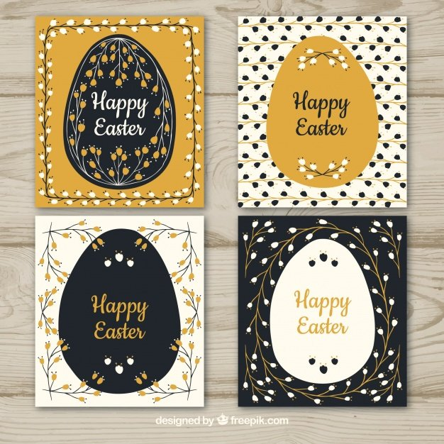 220 Best Easter Graphics in 2020: Free & Premium - black gold easter day card collection 23 2147757308