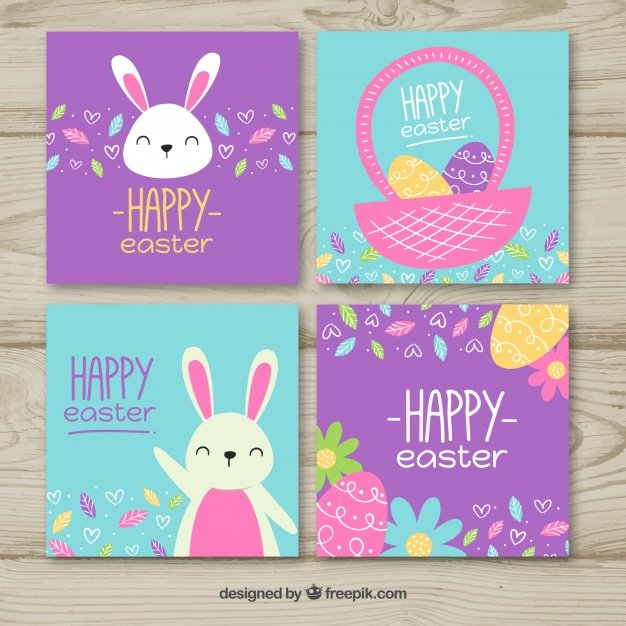 220 Best Easter Graphics in 2020: Free & Premium - blue purple easter card set 23 2147755824
