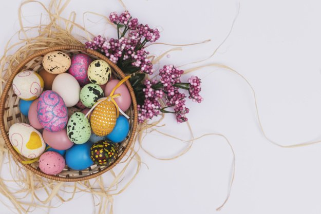 220 Best Easter Graphics in 2020: Free & Premium - bowl with eggs straw flowers 23 2147755270
