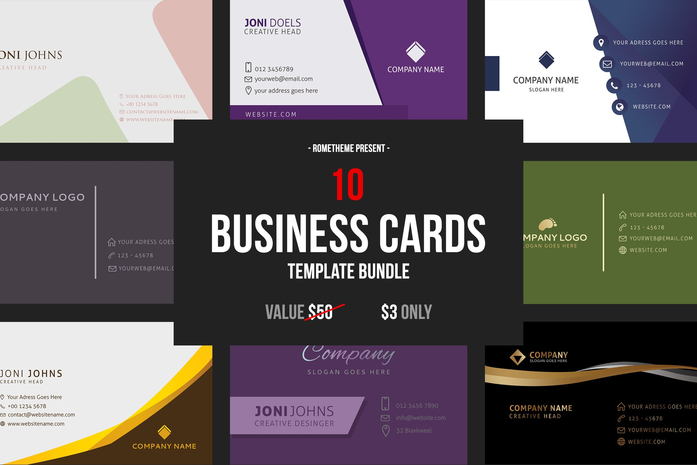10 Business Card Template Bundle.