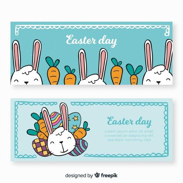 220 Best Easter Graphics in 2020: Free & Premium - cartoon rabbit easter banner 23 2148066541