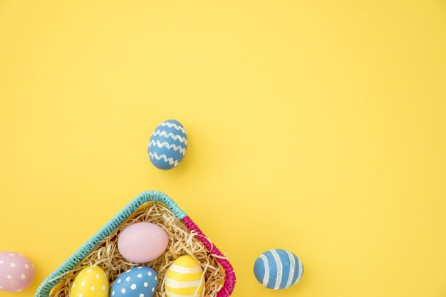 220 Best Easter Graphics in 2020: Free & Premium - colourful easter eggs small basket yellow table 23 2148050949