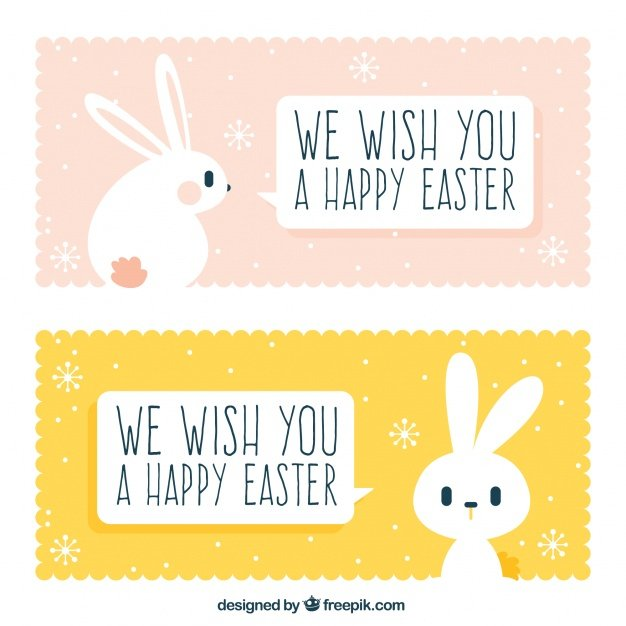 220 Best Easter Graphics in 2020: Free & Premium - cute easter banners with rabbit 23 2147599991
