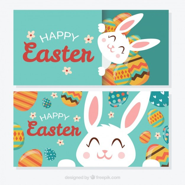 220 Best Easter Graphics in 2020: Free & Premium - cute easter bunny happy banners 23 2147599736