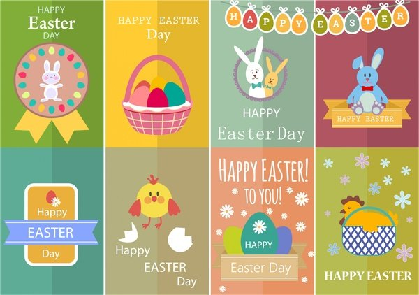 220 Best Easter Graphics in 2020: Free & Premium - easter card sets with cute colored design style 6825639