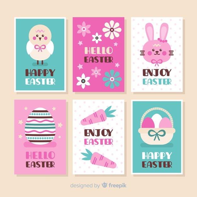 220 Best Easter Graphics in 2020: Free & Premium - flat easter card pack 23 2148069847