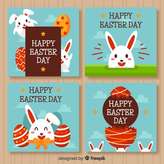 220 Best Easter Graphics in 2020: Free & Premium - flat easter day card collection 23 2148069589