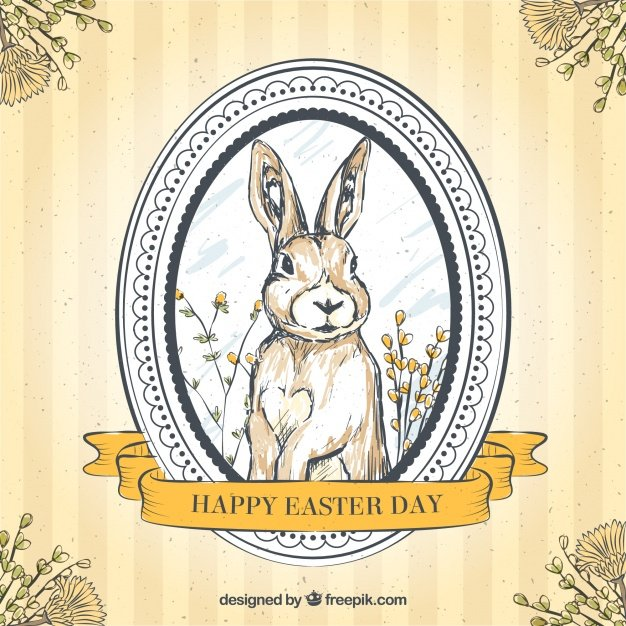 220 Best Easter Graphics in 2020: Free & Premium - hand drawn easter bunny retro background 23 2147601062