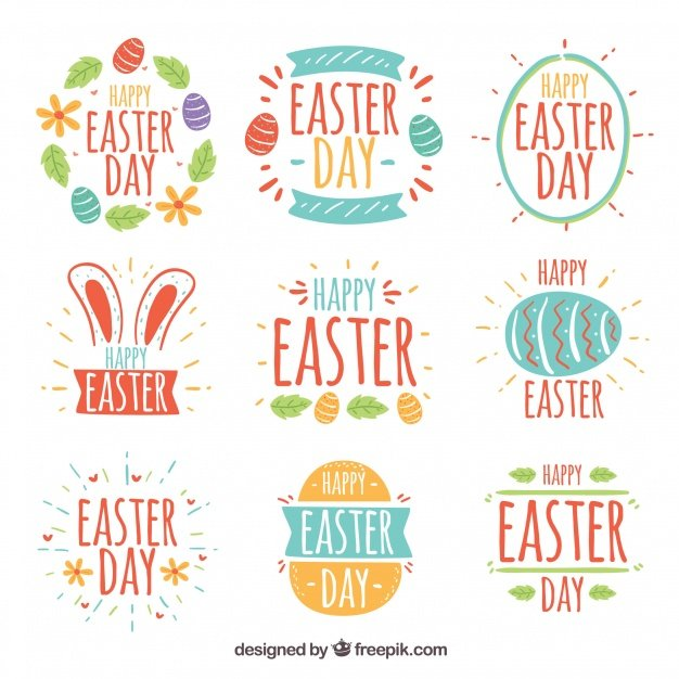 220 Best Easter Graphics in 2020: Free & Premium - set easter day badges 23 2147755331