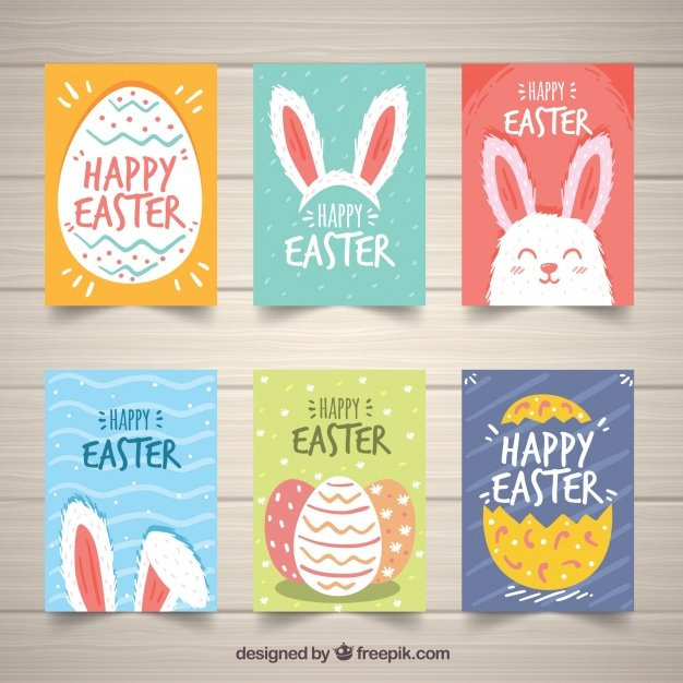 220 Best Easter Graphics in 2020: Free & Premium - set easter day cards hand drawn style 23 2147755322