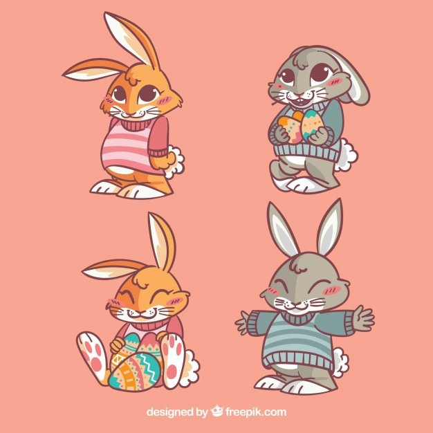 220 Best Easter Graphics in 2020: Free & Premium - several pretty easter rabbits 23 2147603969