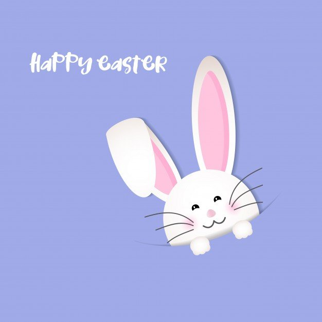 220 Best Easter Graphics in 2020: Free & Premium - violet background easter with funny rabbit 1048 5164