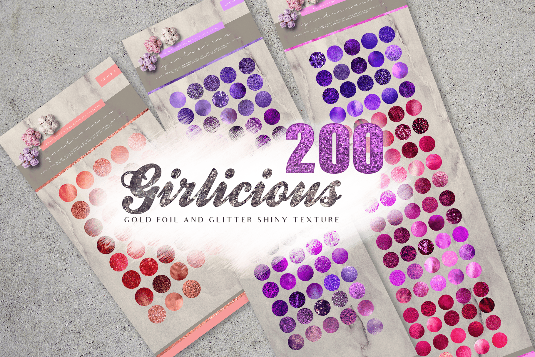 200 Girly Gold Pink Textures - $15 - girlicious preview final image1