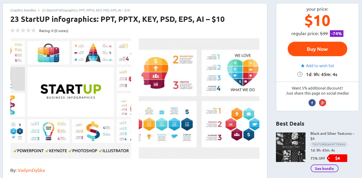 23 StartUP infographics: PPT, PPTX, KEY, PSD, EPS, AI – $10