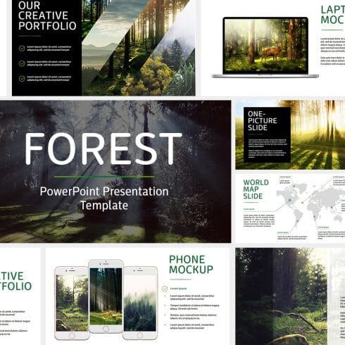 130+ Uniqu Forest Slides - PowerPoint Template + BONUS - main 490x490