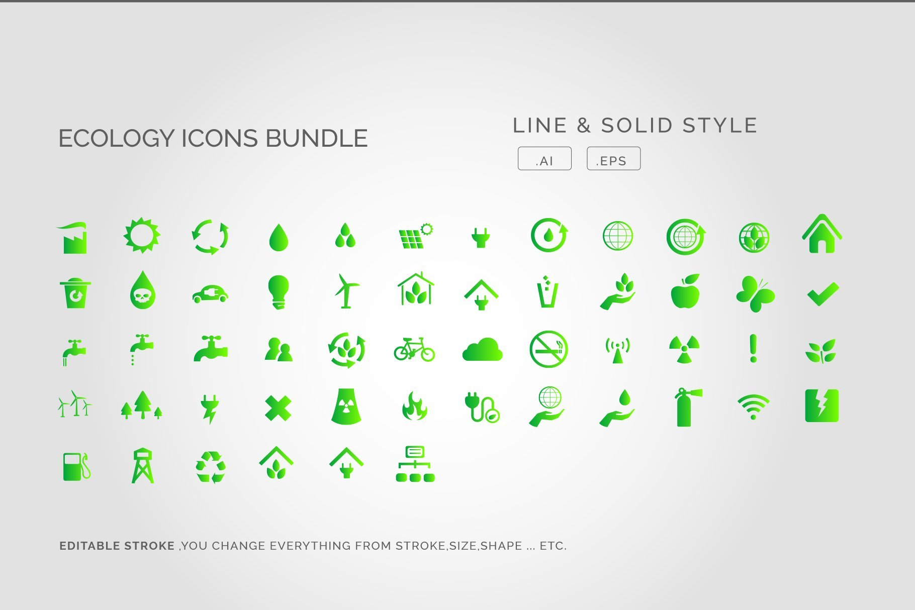 Renewable Energy Ecology Icons Set