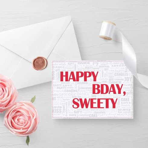 Happy BDay, Sweety! - Free Customizable Invitatio6n Card Mockup 2 490x490