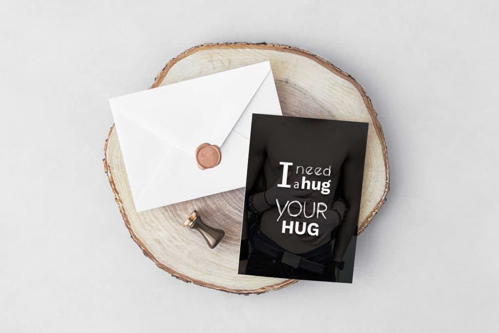 I need a Hug Valentine's Day Typography Postcard - Free InvitatioEnvelope