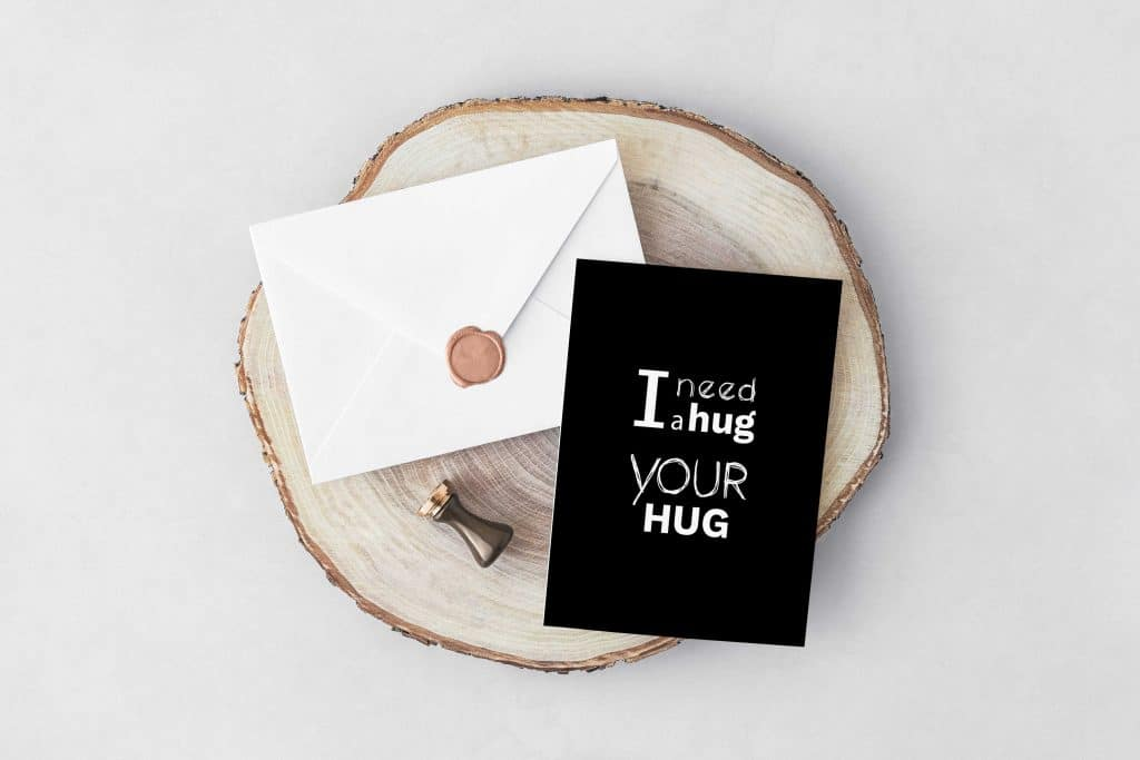 I need a Hug Valentine's Day Typography Postcard - Free Invitation Cavelope