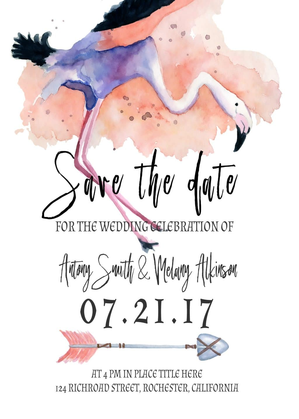 3 Save the Date Postcards: Watercolor Flamingo - card 10