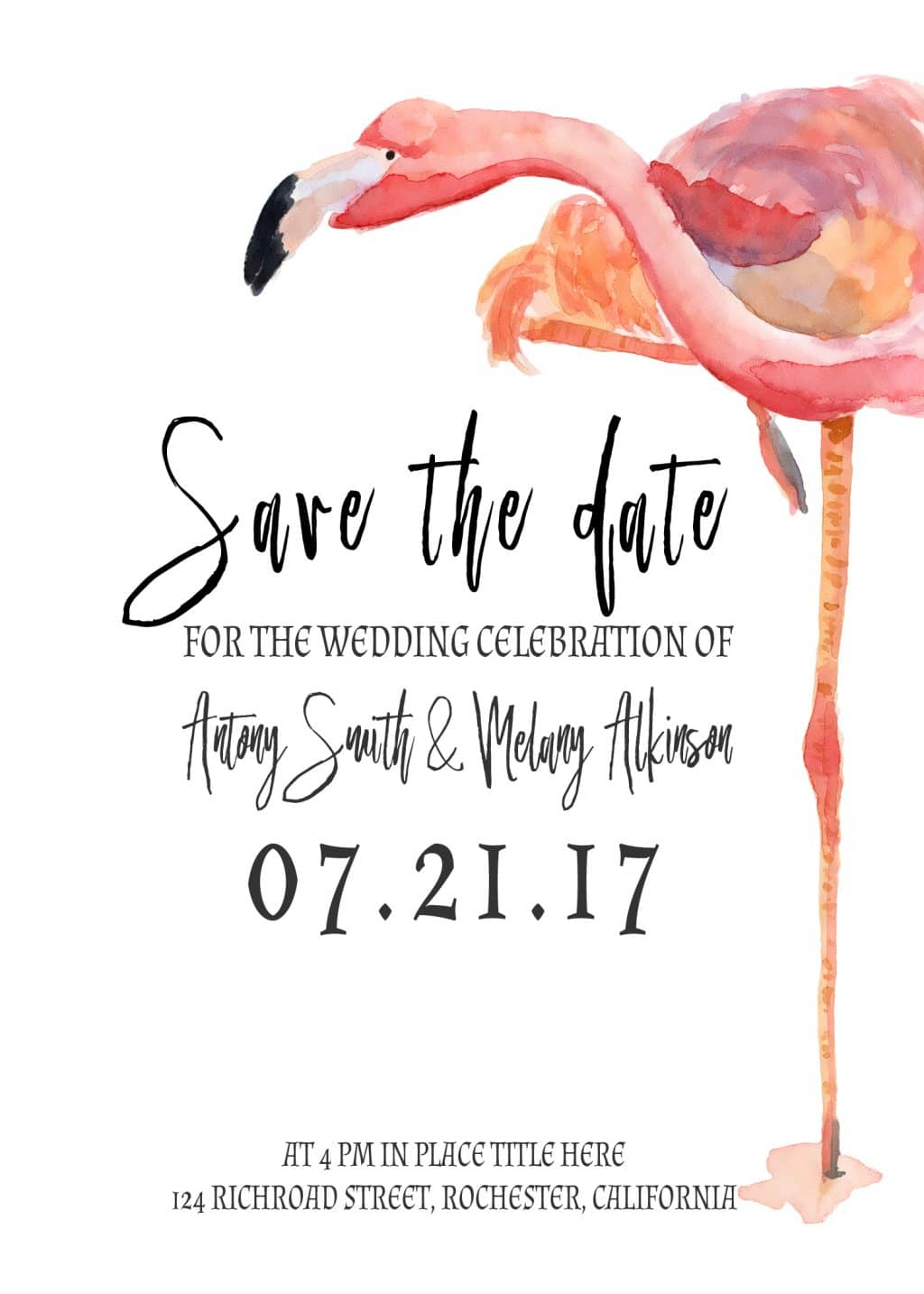 3 Save the Date Postcards: Watercolor Flamingo - card 9