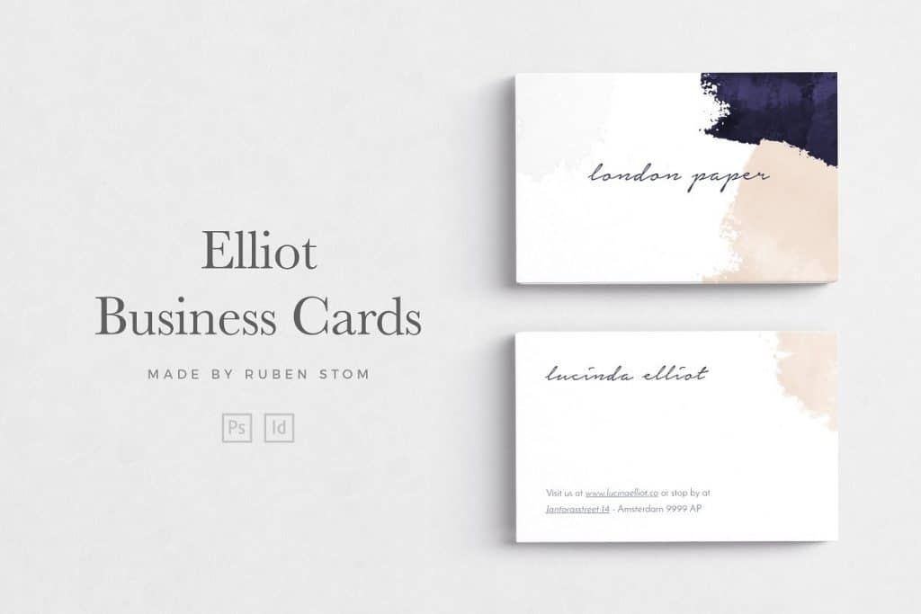 Stylish picturesque cards. White background and paint strokes.