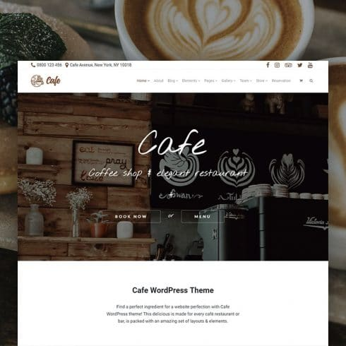 Cafe WordPress Theme - $25 - Cafe WordPress Theme Product Front Page 490x490