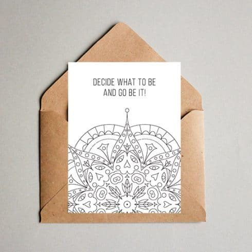 Decide What to Be - Motivational Postcard Design - Coloring postcard 01 490x490