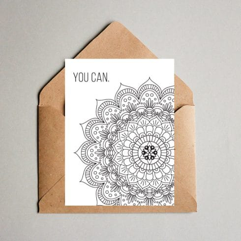 You Can! Motivational Mandala Coloring Postcard - Coloring postcard 03 490x490