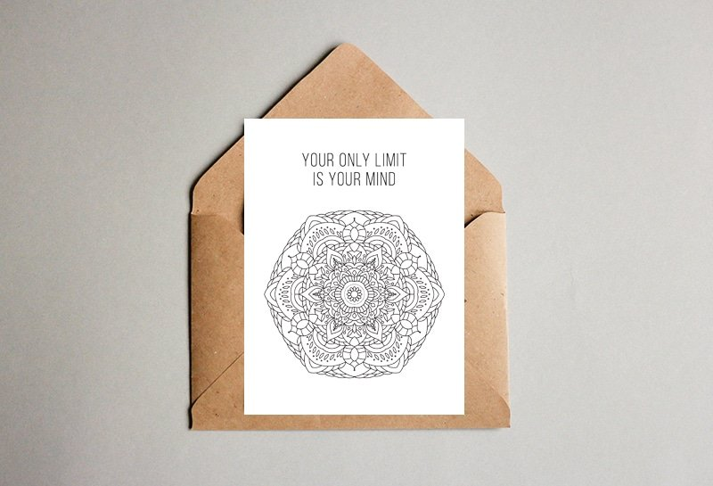 Coloring Postcard Mandala Design