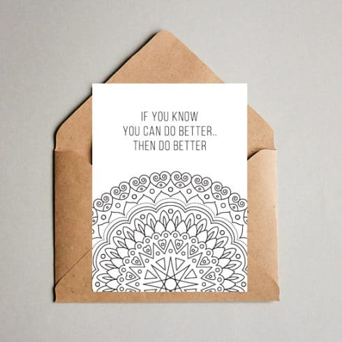 Motivational Coloring Postcard - Coloring postcard 05 490x490