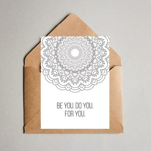 Be You. Do You. For You. Coloring Postcard - Coloring postcard 06 490x490