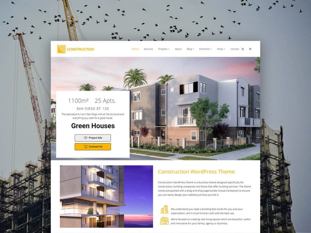 Top Construction WordPress Theme - $25 - Construction WordPress Theme Product Front Page