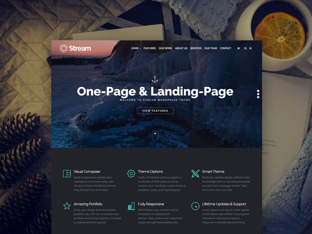 Stream WordPress Theme -  $25 - Stream One Page Landing Page WordPress Theme