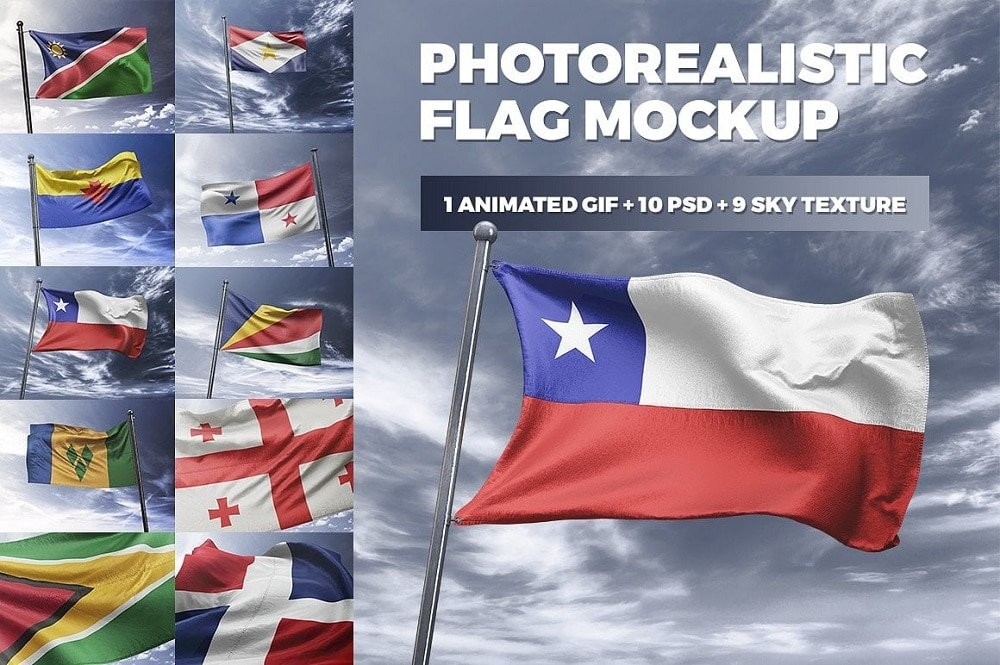 60+ American Flag Vector Products For Your Design Project 2020 - photorealistic flag mockup