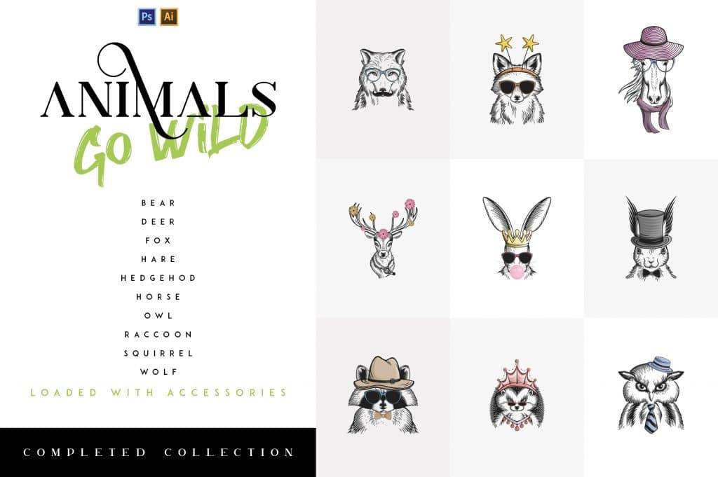 10- in-1 Animals Go Wild Illustrations - $21 - 1 2