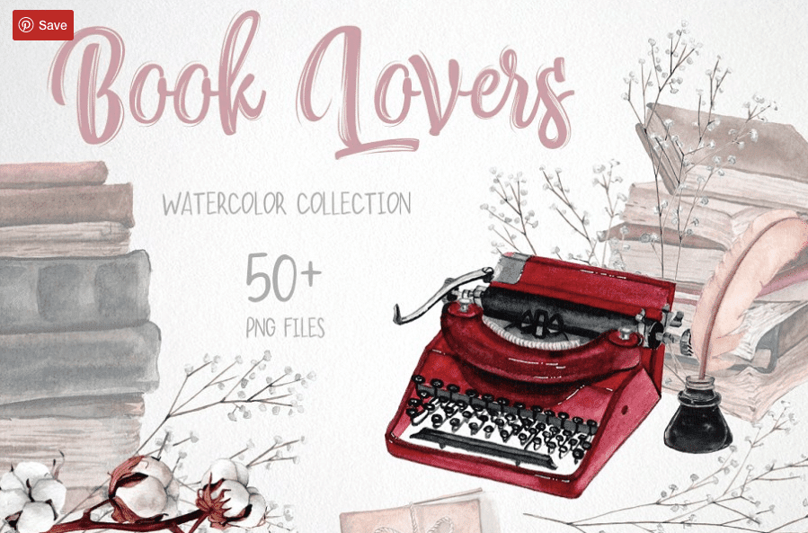 90+ Book Clipart. The World's Largest Kit Of Book Clipart For You - Book Lovers Watercolor Set