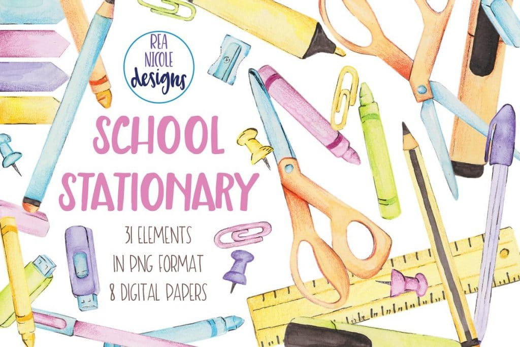55+ Best Back to School Clipart and Images: Largest Kit 2020 - school stationary