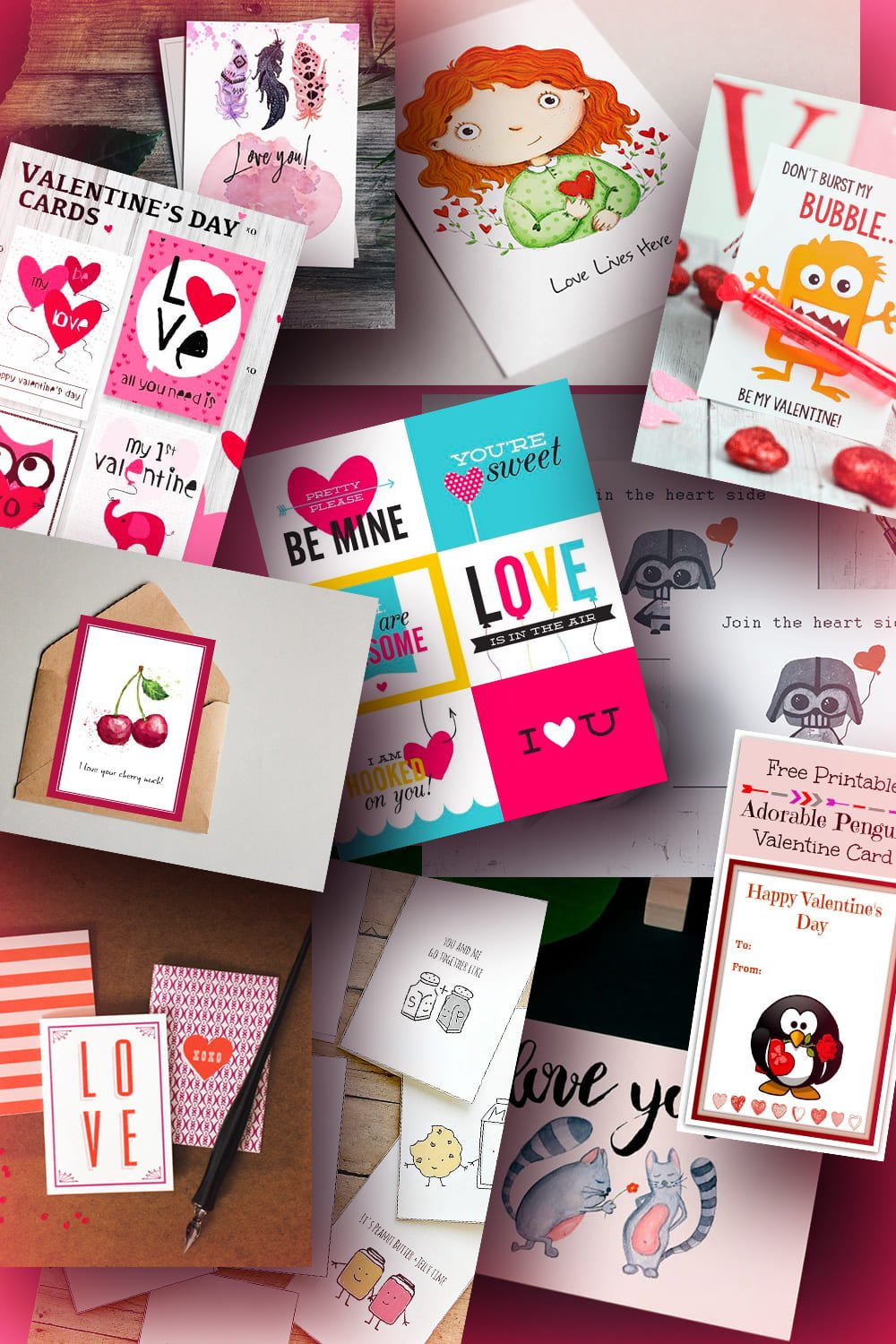 Valentines Day Cards. Pinterest Image.