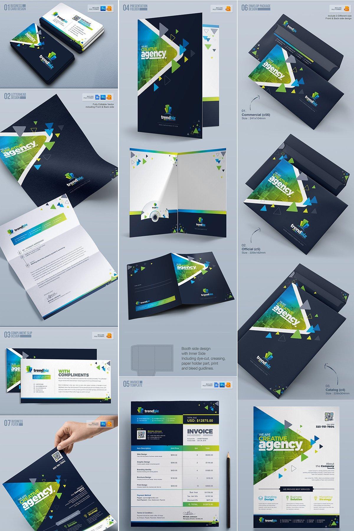 Stationery Branding Identity Bundle - $39 - 02 Business mega stationery branding identity design
