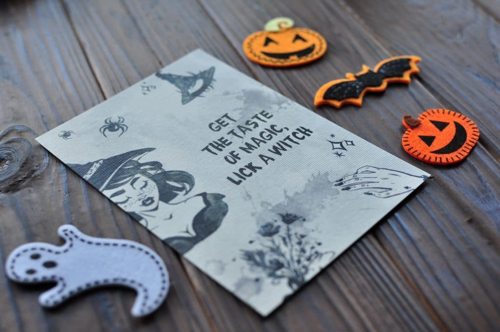 Halloween Postcard Pin-up Witch