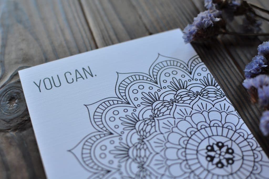 Motivational Mandala Coloring Postcard